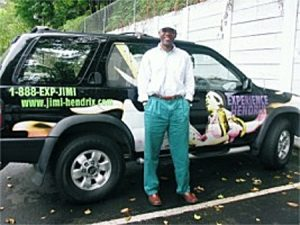 """Jack arrives at the Experience Jimi Hendrix HQ and discovers """"Jimi'ed-out"""" SUVs."""